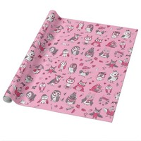 Pink cute owls pattern