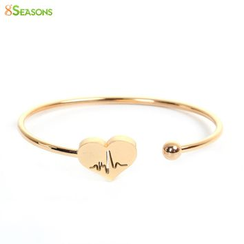 "8SEASONS Stainless Steel Open Cuff Bangles Bracelets Gold Color Heart Heartbeat Electrocardiogram Elastic 18cm(7 1/8""), 1 Piece"