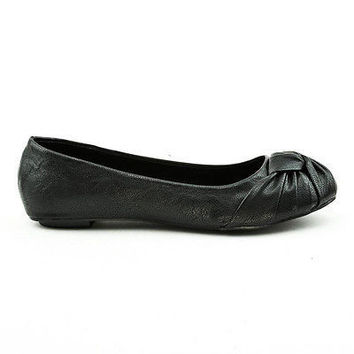 Pozo Black Knotted twisted linen round toe flat ballet women Soda Shoes