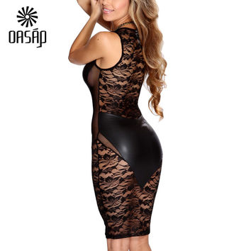 OASAP Black Faux Leather Floral Lace Mesh Little Black Leather Dress Sleeveless Sexy Bodycon Dress Costume Vestidos-52577