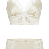 Monogram Silk Charmeuse Bralette And Brief Set | Moda Operandi