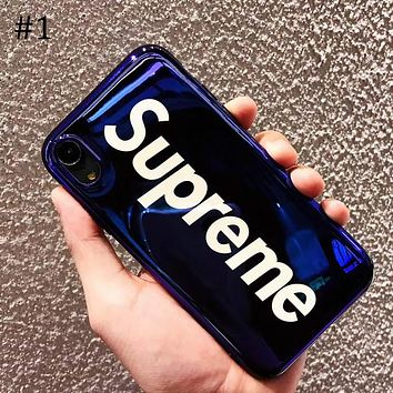 Supreme Tide brand simple blue soft shell iphone x mobile phone case cover #1