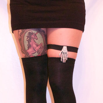 skeleton hand suspender thigh high harness