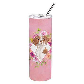 Brittany Spaniel Pink Flowers Double Walled Stainless Steel 20 oz Skinny Tumbler CK4254TBL20