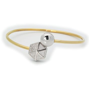 Sparkling Cz Hexagon Cuff Bangle in 18k Gold Plated Sterling Silver