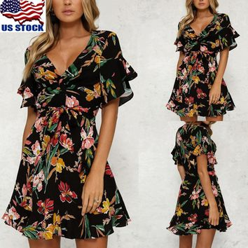Womens Summer BOHO Floral Print V Neck Short Sleeve Mini Short Dress Clubwear US