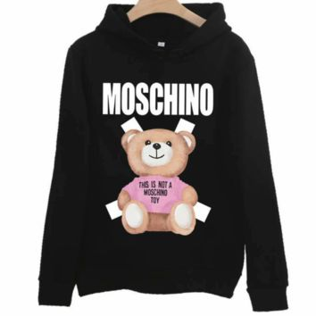 Moschino autumn and winter style tide brand lovers print bear cub hood long sleeve pullover sweater black