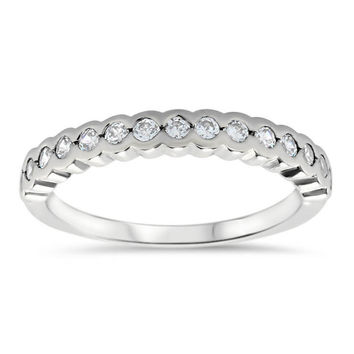 Bezel Set Diamond Wedding Band - Nan Wedding Band