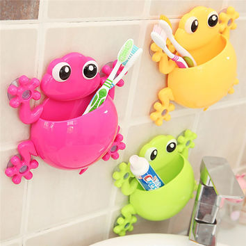 Creative Home Bathroom Sets Lovely Cartoon Gecko Toothbrush Wall Suction Mount Holder