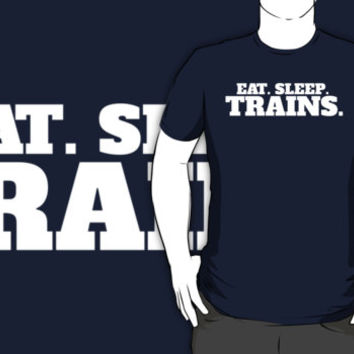 Model Railroader Funny 'Eat. Sleep. Trains.' T-Shirt