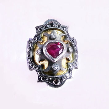 Ruby Heart Medieval Ring with Black Diamond Encrusted Frame