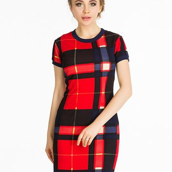 Streetstyle  Casual Short Sleeve Plaid Bodycon Dress