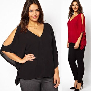 Women New Fashion Sexy V Neck Chiffon Bat Sleeves Shirt Blouse Casual Loose Plus Size Tops XXXL-6XL = 1958292804