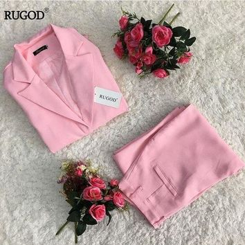 Rugod Lady Elegant Business Suits Women Stylish Two Piece Sets Long Sleeve Jacket And Trousersuits