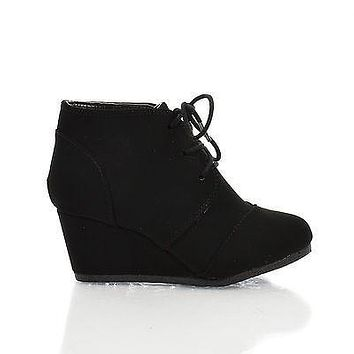 RexIIS Black By Happy Soda, Children Girls Shoe Almond Toe Lace Up Oxford Wedge Heel Ankle Bootie