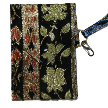 Cell Phone Wallet - Black, green, and red purse - Flowers - Iphone Wallet - Smartphone purse