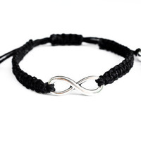 Bamboo Infinity Bracelet Black Friendship