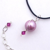 Rose hot pink fuschia leather cord necklace Swarovski crystal pearl charm Black leather string choker Wire wrap pendant Wirewrap round bead
