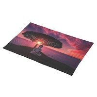 Buddha in the Red Evening Sky Cloth Placemat