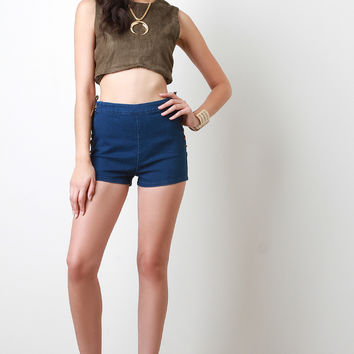 Boho Suede Lace Up Denim Shorts