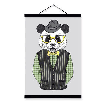 Panda Modern Fashion Gentleman Animal Portrait Wood Framed Canvas Painting Wall Art Print Picture Poster Scroll Office Home Deco