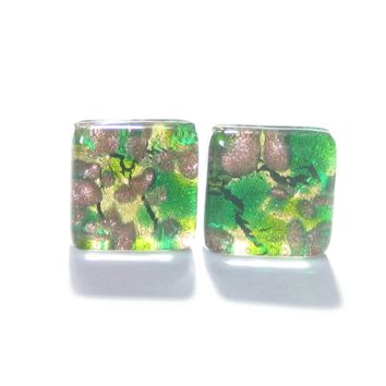 Murano Glass Emerald Green Gold Square Cuff Links