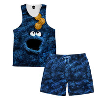 Cookie Monster Tank and Shorts Rave Outfit