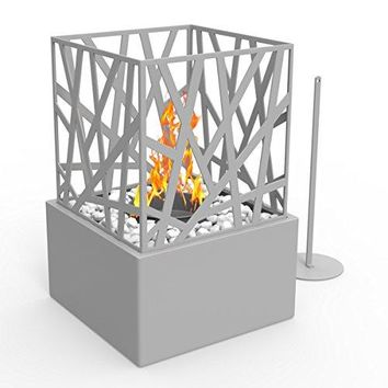 Regal Flame Bruno Ventless Indoor Outdoor Fire Pit Tabletop Portable Fire Bowl Pot Bio Ethanol Fireplace in Gray - Realistic Clean Burning like Gel Fireplaces, or Propane Firepits