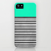 Mint Gray Stripes iPhone & iPod Case by M Studio