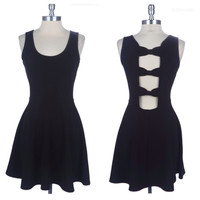 Spring Delight Open Back Bow Link Black Sleeveless Tank Mini Dress
