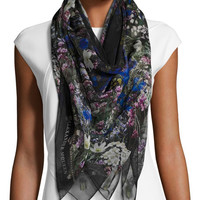 Alexander McQueen Wild Meadow Square Silk Scarf, Black/White