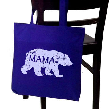 MAMA bear tote bag - screen printed canvas bag - gifts for mom - Mother's Day gift - baby shower gift - mama bear bag