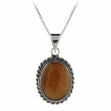 Sterling Silver Tigers Eye Bali Beaded Oval Pendant