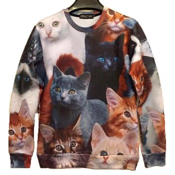 Adorable Kitty Cat All Over Collage Graphic Print Pullover Sweatshirt Sweater | Gifts for Cat Lovers