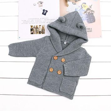 Baby Boy Girl Knitting Cardigan 2017 Winter Infant Toddler Solid Warm Sweaters Fashion Long Sleeve Hooded Coat Kids Boy Clothing