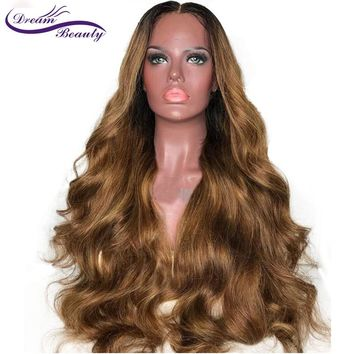 Ombre Human Hair Lace Front Wigs Ombre Color Peruvian Remy Two Tone Hair Wig with Baby Hair Middle Part Dream Beauty