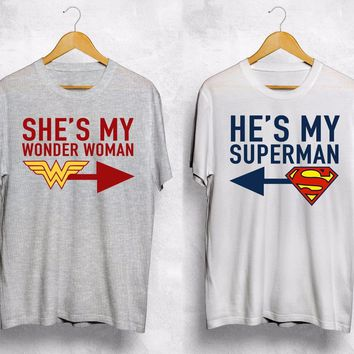 He's My Superman Shes My Wonder Woman T Shirt Couple Valentines Gift