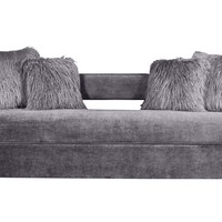 Kennedy Grey Velvet Sofa With Four Faux Sheepskin Pillows