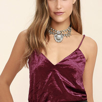 Pure Love Burgundy Velvet Top