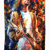 Tapestry Rock Music Hippie Tapestry Polyester Cloth Nirvana band Kurt Cobain Printed Tapestry Wall Hanging Bar Decoration 192cm
