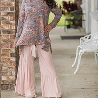 Paisley Asymmetrical Long Sleeve Top