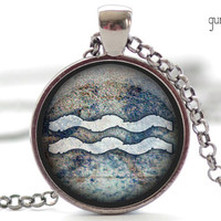 Aquarius Zodiac Necklace, Astrology Pendant in Your Choice of Finish (1376)
