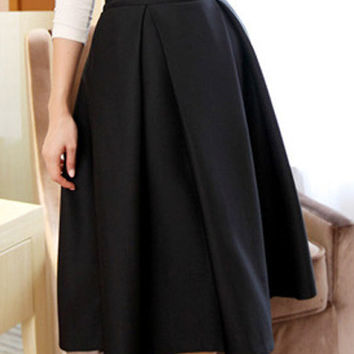 Solid Color High-Waist Midi Skater Skirt