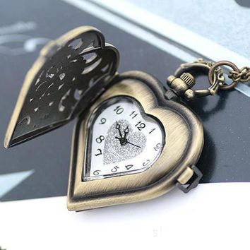 Fashion Hollow Heart Silver Hollow Quartz Heart Shaped Pocket Watch Necklace Pendant Chain Clock Women Gift High Quality #45