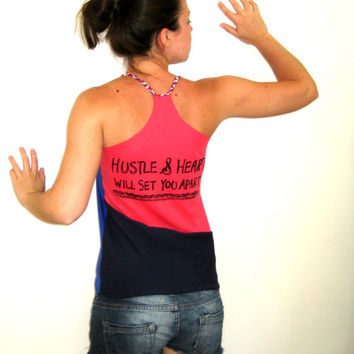 HUSTLE & HEART Pink Blue Tank, Navy Tank Top, Upcycled Tank, Festival Braided Surfer Tank Beach Eco Surf Hustle Will Set You Apart Print