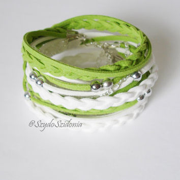 Spring Green Suede Cord Wrap Bracelet - Easter gift - Fast free shipping