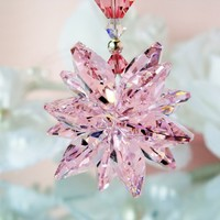 Pink Crystal Suncatcher Car Rear View Mirror Charm