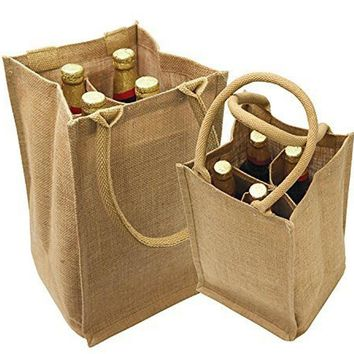 Jute Wine Bags Burlap Wine Totes with Removable Dividers - WJ752