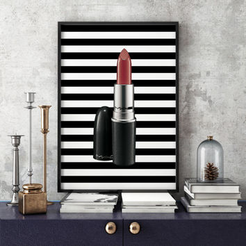 Makeup Illustration, Makeup Print, Lipstick Illustration, Lipstick Print, Mac Makeup, Mac Lipstick Fashion Print Fashion Illustration