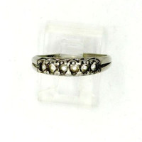 Vintage Sterling Silver Topaz Multi Stone Ring, Wedding Band, Anniversary Ring, Size 8